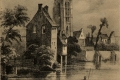 15 L'église Saint-Spire et un des quatre moulins du canal de la boucherie à sa jonction avec la rivière de Juisne, 1839